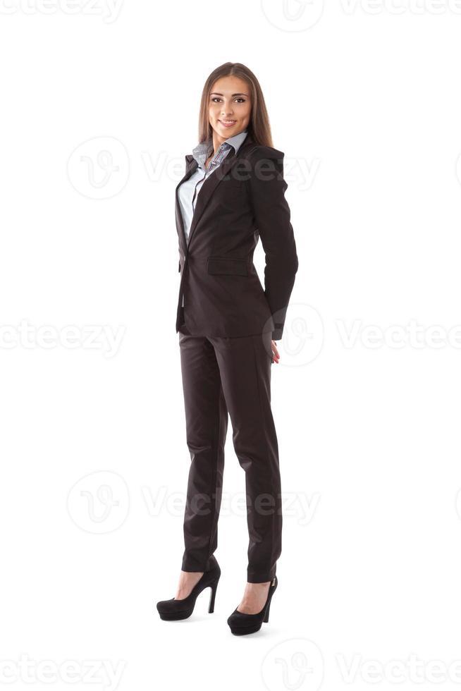 Geschäftsfrau isoliert auf weiß foto
