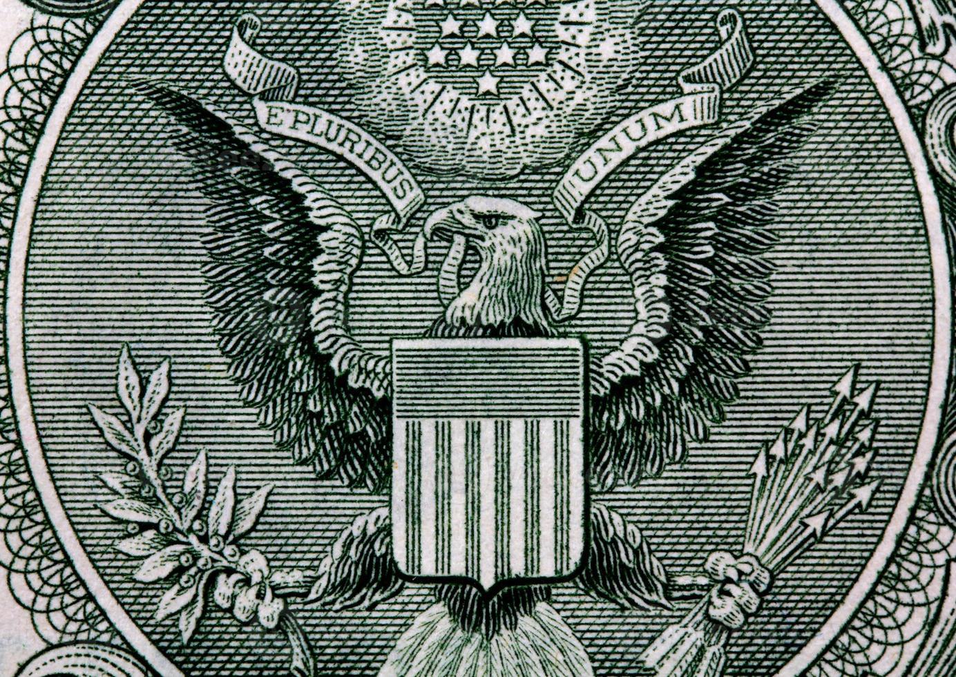 die ein Dollar isoliert auf weißem Hintergrund !!! foto
