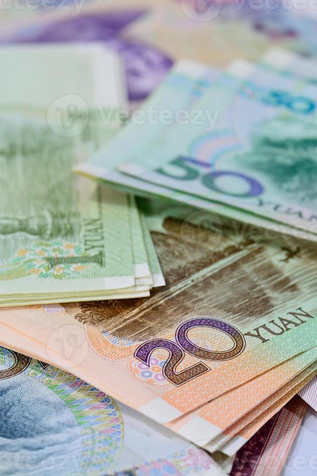 chinesische Yuan Banknoten (Renminbi) für Geld und Geschäftskonzept foto