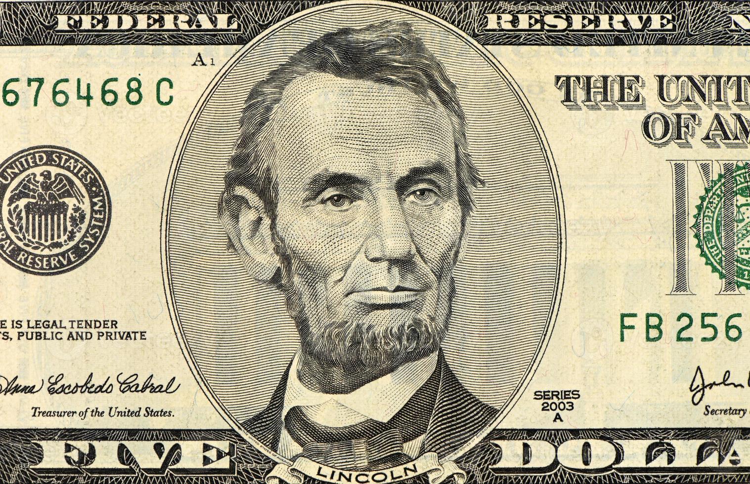 fünf Dollar Banknote foto