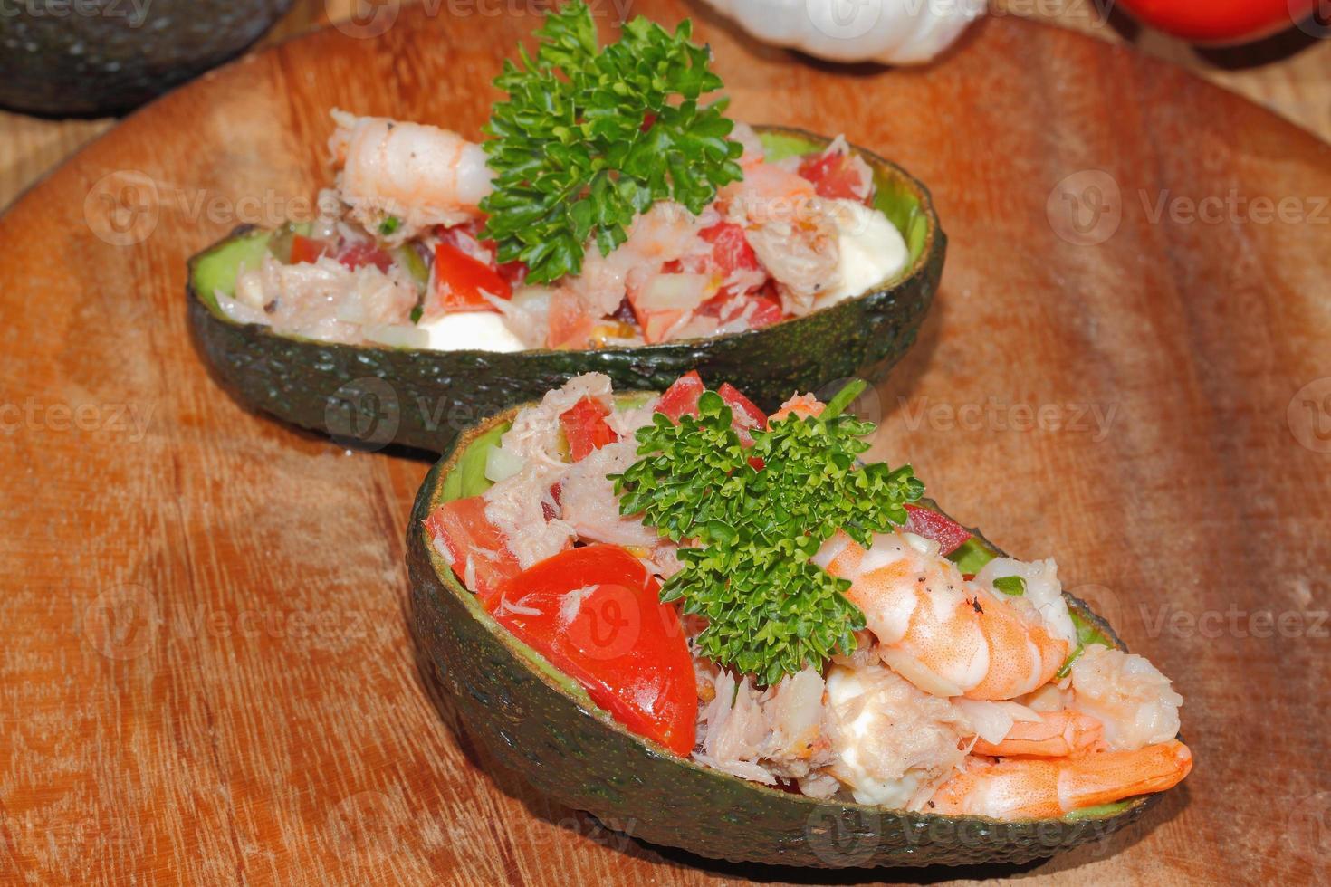 , Avocado, Guacamole, Garnelen, Thunfisch, Salat, Guacamole foto