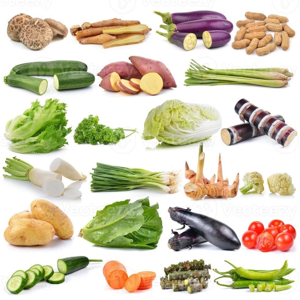 Satz Gemüse lokalisiert auf weißem Hintergrund foto
