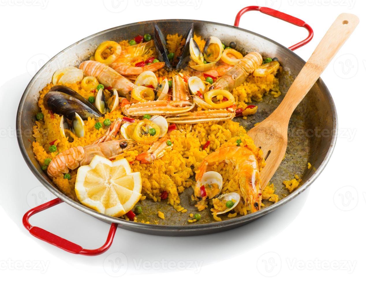 Paella, halb gegessen foto