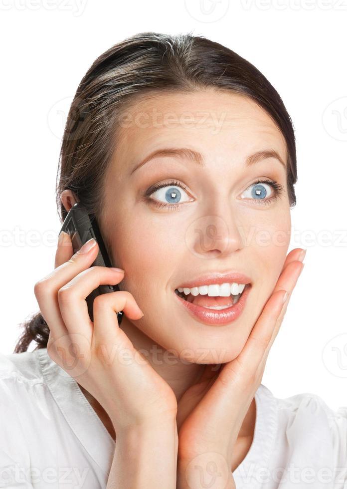 Geschäftsfrau mit Handy, isoliert foto
