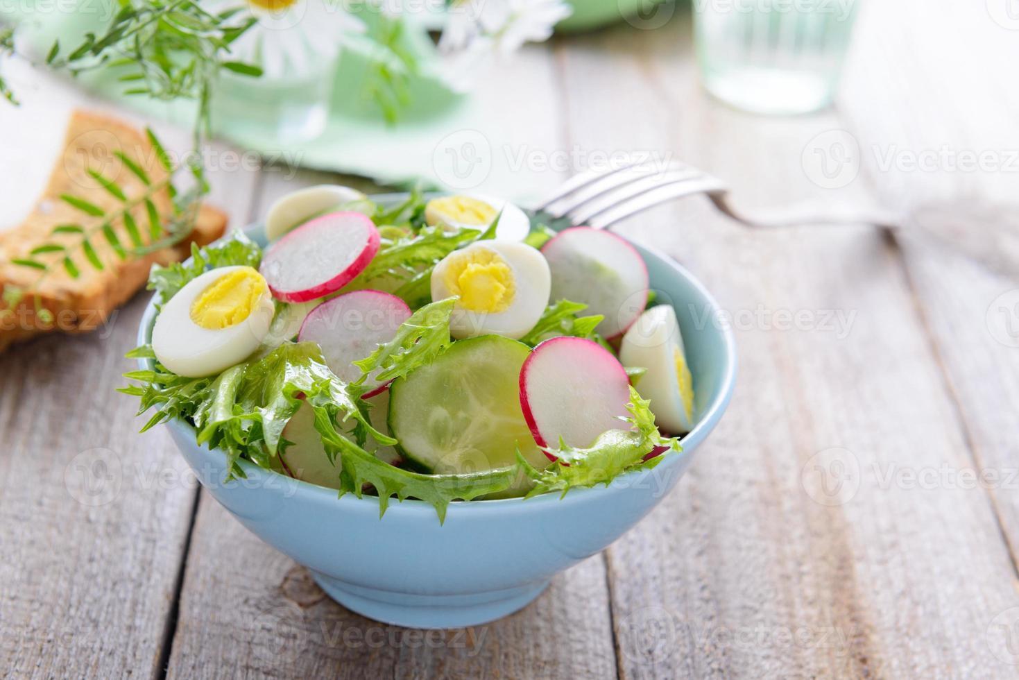 Frühlingssalat aus frischem Gemüse und Wachteleiern foto