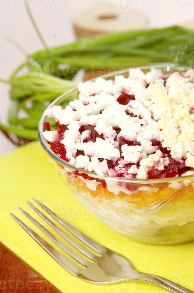 russischer traditioneller hering salat foto