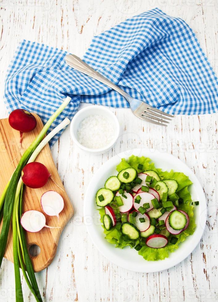 Frühlingssalat mit Gurken und Radieschen foto