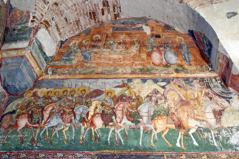 byzantinisches Fresko in der alten christlich-orthodoxen Kirche foto