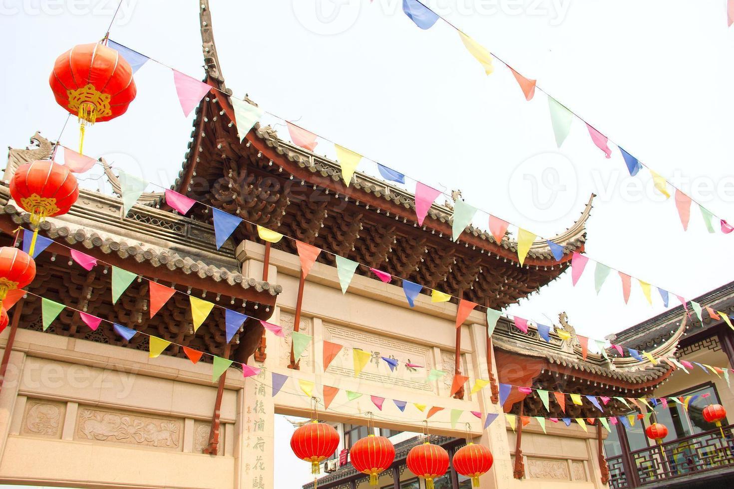 farbige Fahnen in Suzhou, China foto