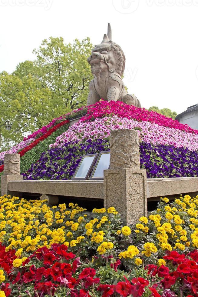 Löwenstatue in Suzhou, China foto
