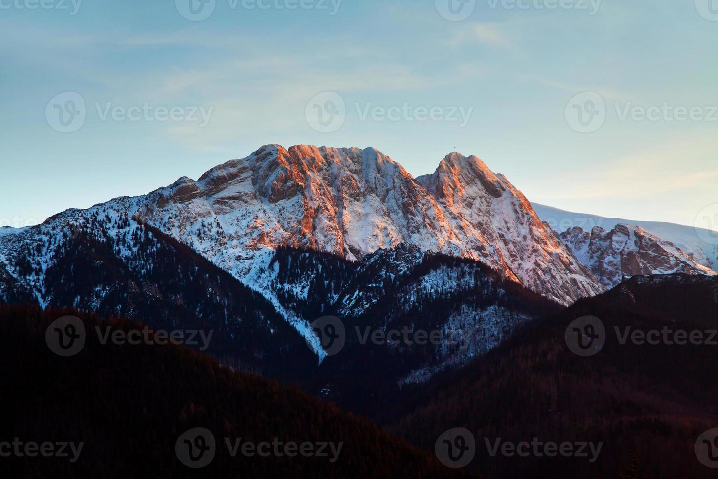 Berg schneebedeckte Landschaft Horizont foto
