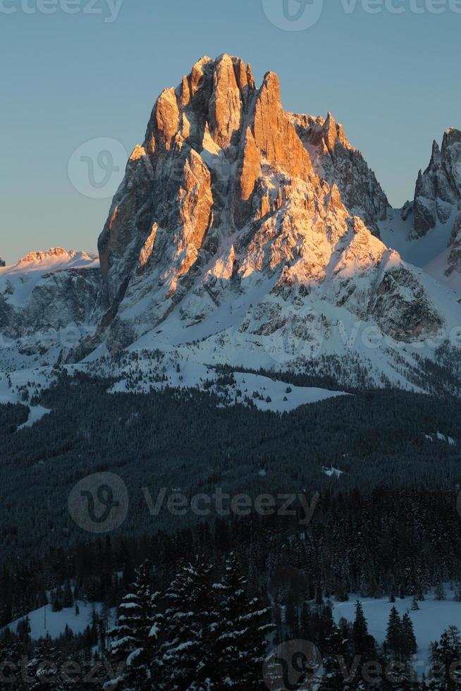 Sassolungo Berg im Sonnenuntergang, Trentino Alt Adige, Italien foto