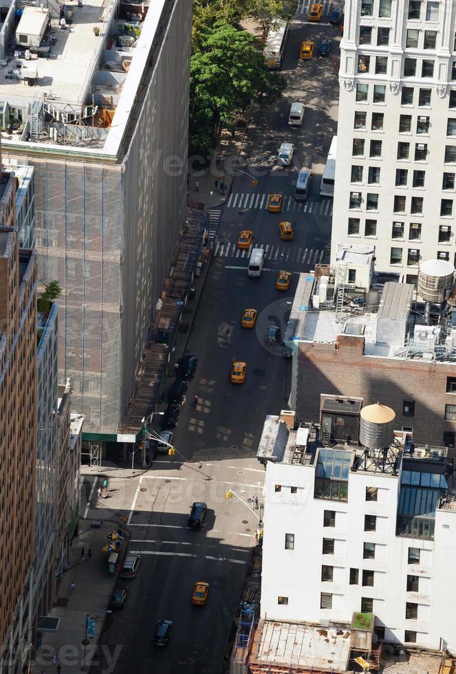 Luftaufnahme der Straßen von Manhattan foto