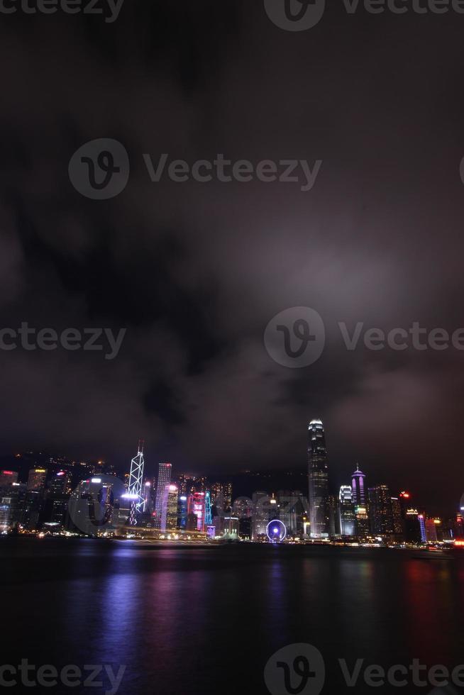 Nachtszene von Hongkong, Asien foto