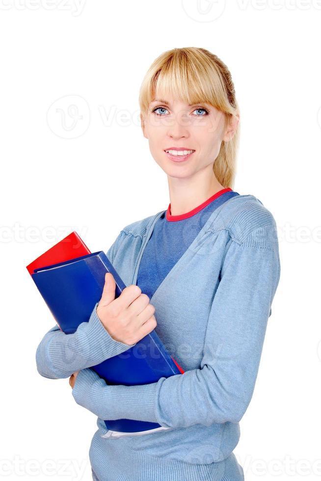 weibliche Holding-Dokumente foto