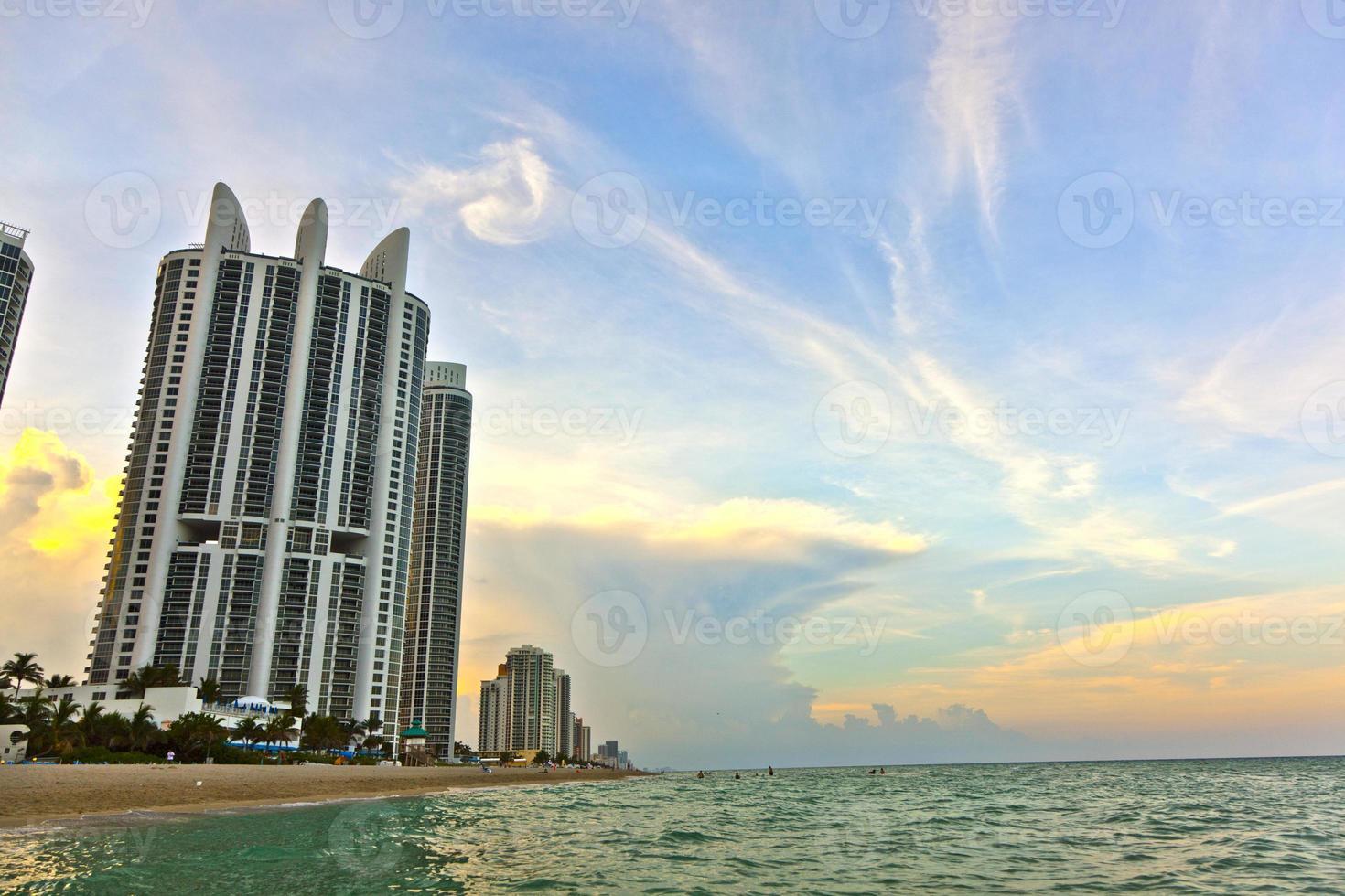 Sonnenuntergang in sonnigen Inseln, Miami foto