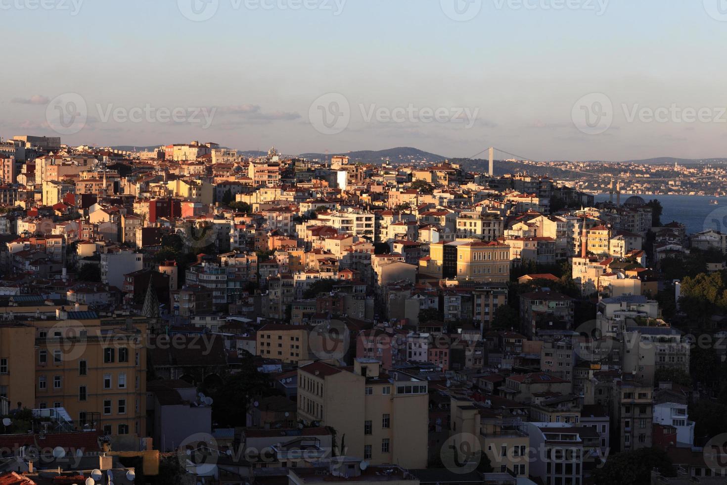Blick auf Istanbul bei Sonnenuntergang foto