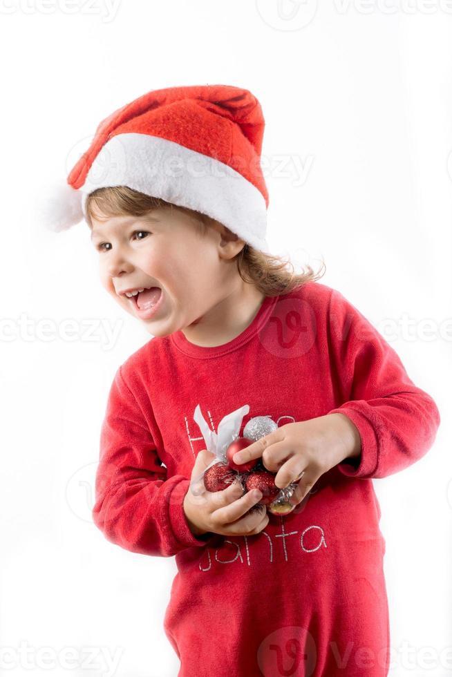 glückliches Weihnachtskind foto