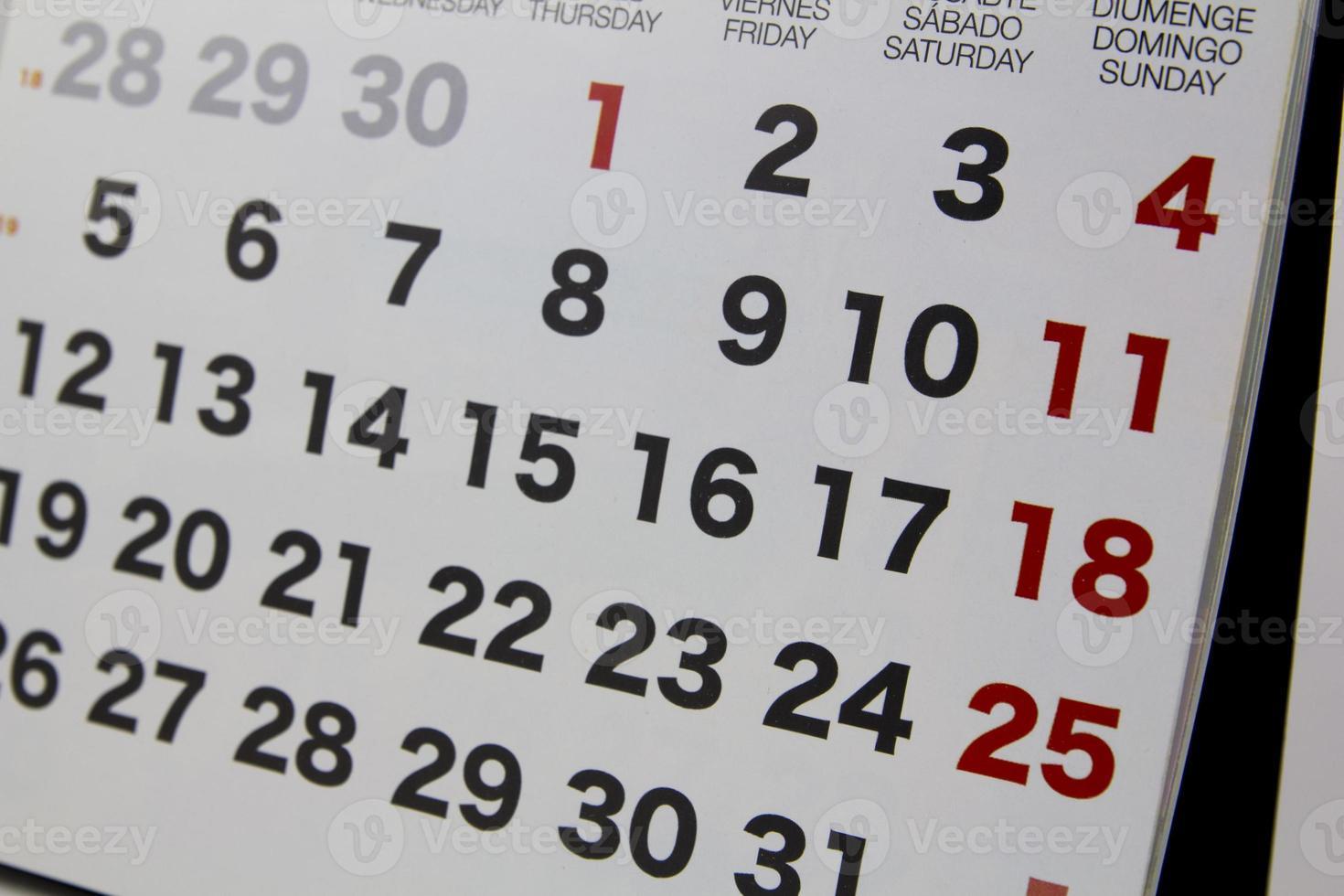 Kalender Nahaufnahme foto
