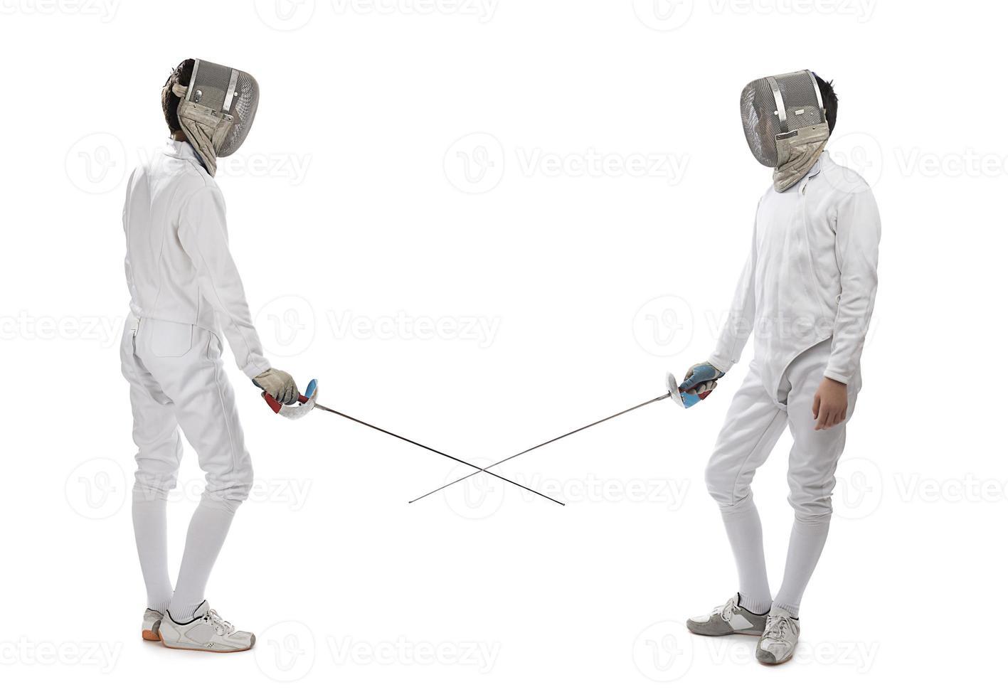 Degen- oder Säbelfechtspieler foto