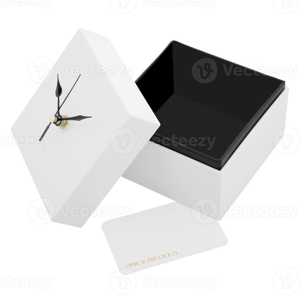 weiße Box mit Uhr. foto