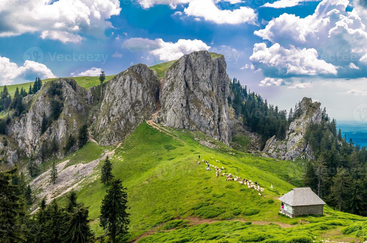Berglandschaft mit Schafstall in Karpatenbergen, Rumänien foto