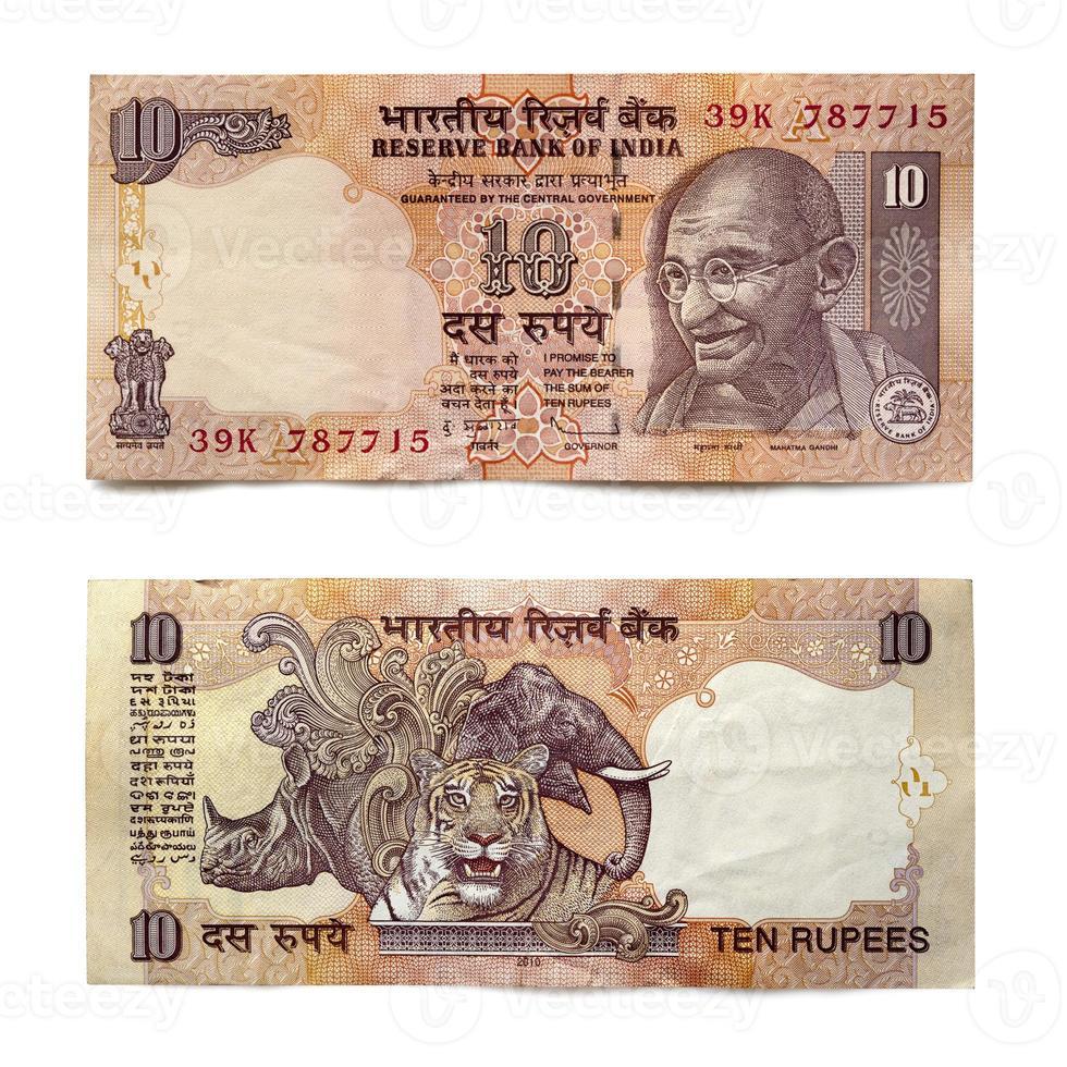 indische Zehn-Rupien-Note vorne und hinten über Weiß foto