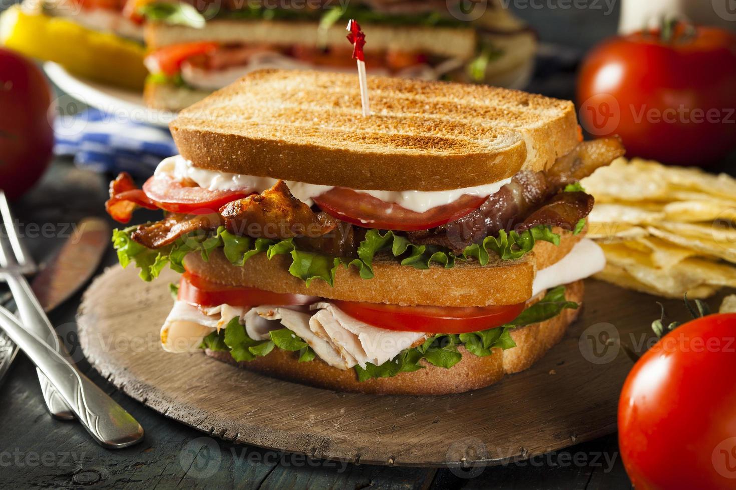 Puten-Speck-Club-Sandwich foto