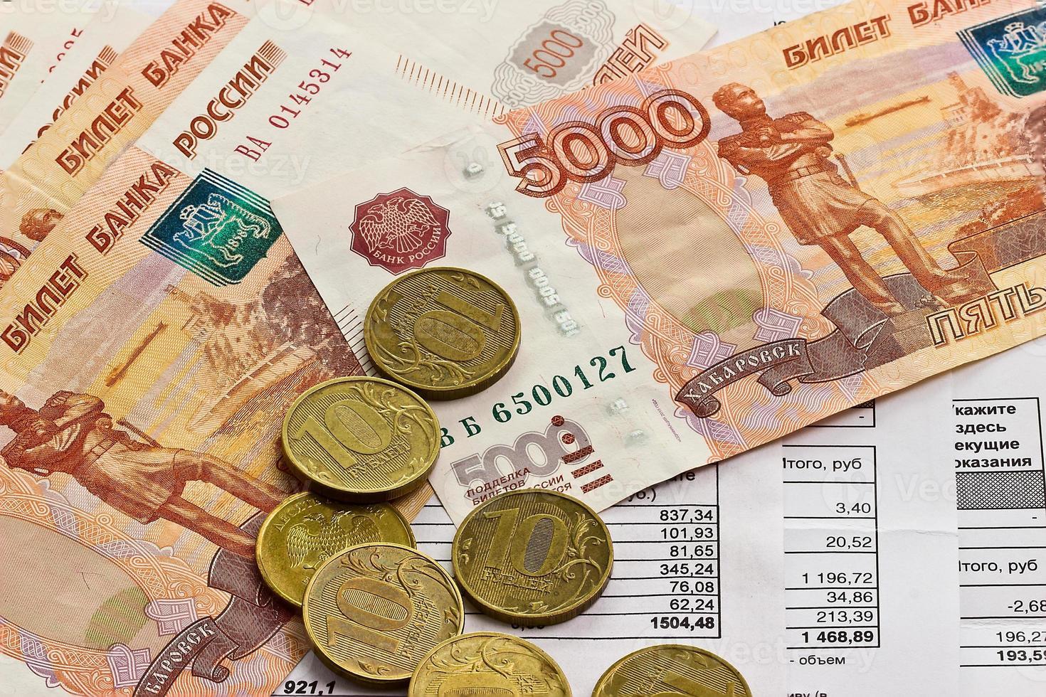 Zahlung von Nebenkosten und Geld foto