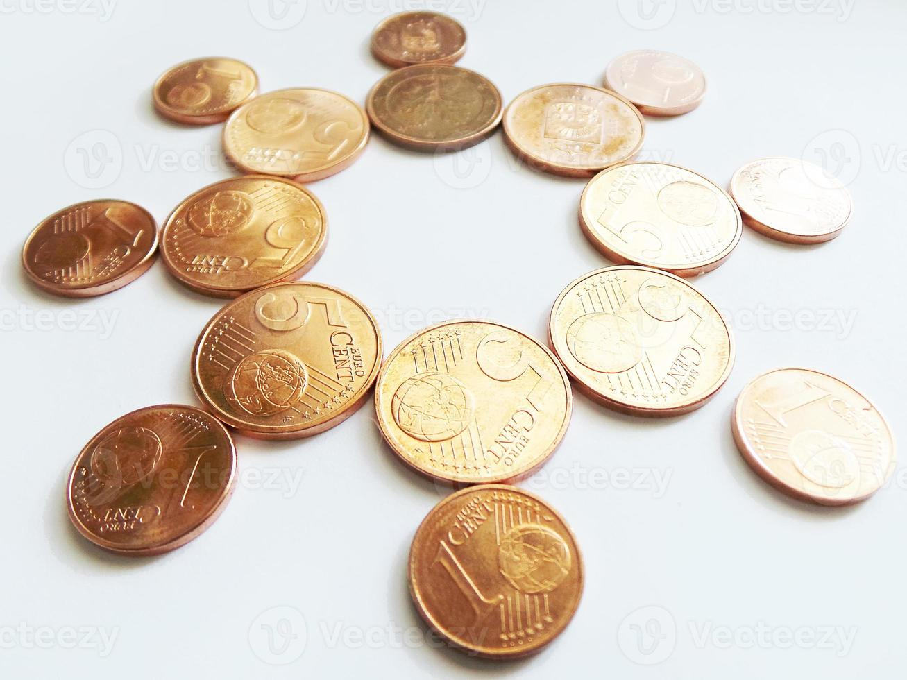 Geld Sonne - Kupfer Euro Münzen foto