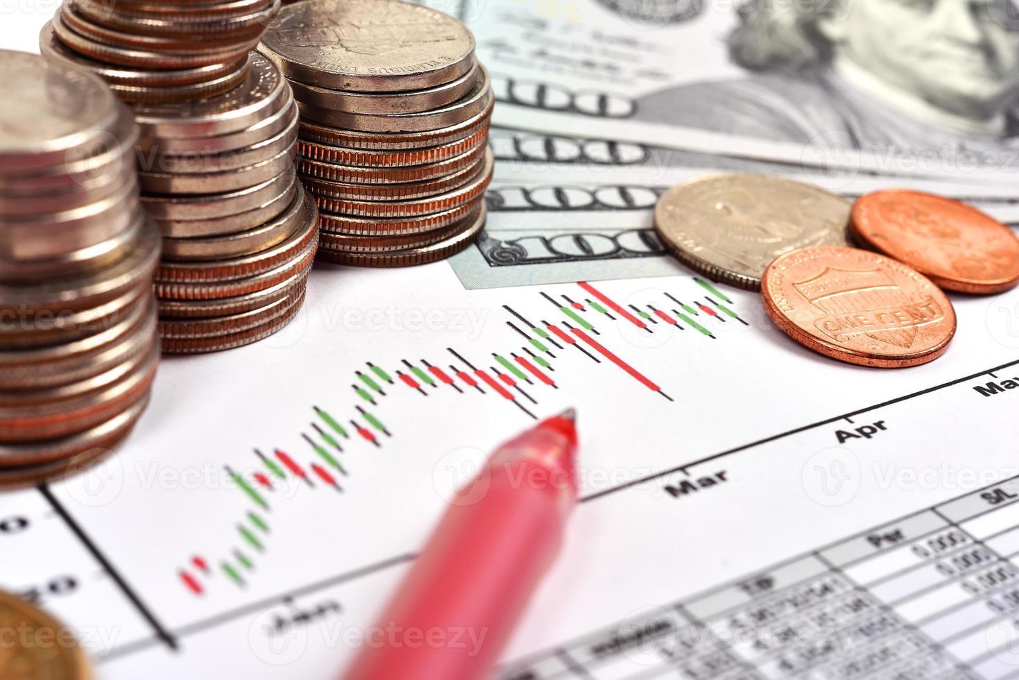 Münze und Diagramm foto