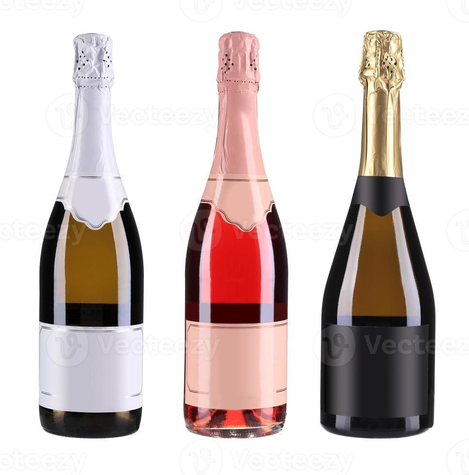 drei Flaschen Champagner. foto