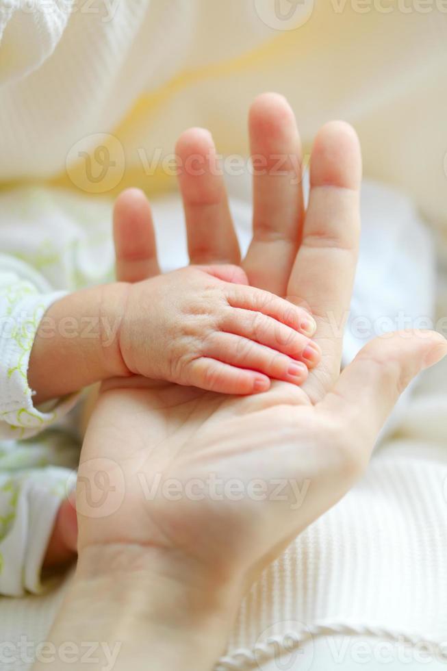 elterliche Hand hält Handfläche des Babys foto