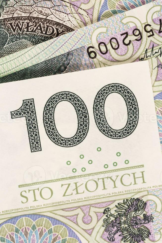hundert zloty polnisches Geld Banknoten Hintergrund foto