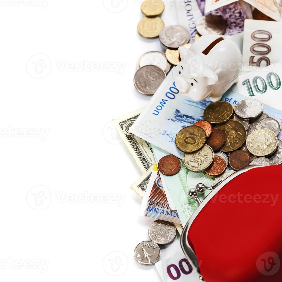 Rahmen für ausländische Münzen und Banknoten foto
