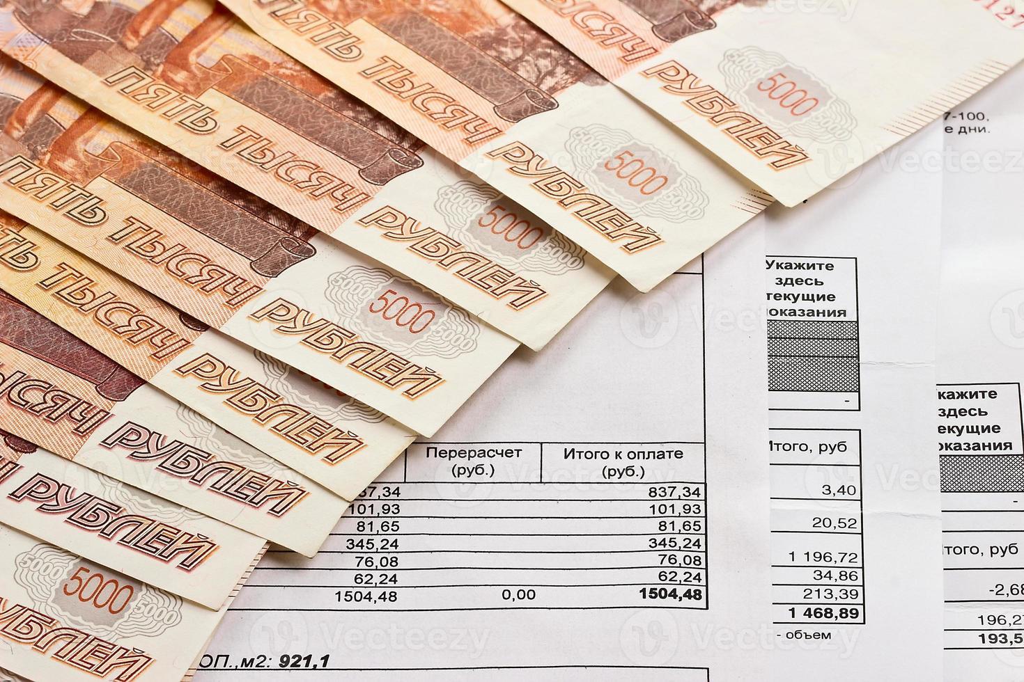 Zahlung von Nebenkosten und russischem Geld foto