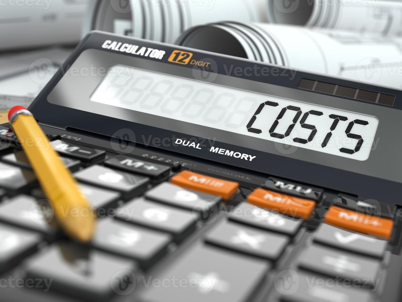 Konzept der Kostenberechnung, Rechner. foto