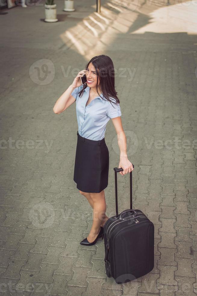 Geschäftsfrau auf Reisen foto
