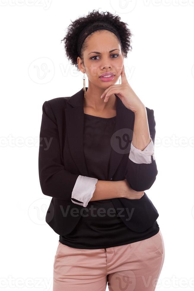 nachdenkliche afroamerikanische Geschäftsfrau - schwarze Leute foto