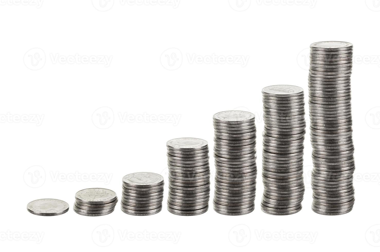 Balkendiagramm als Stapel von Silbermünzen. foto