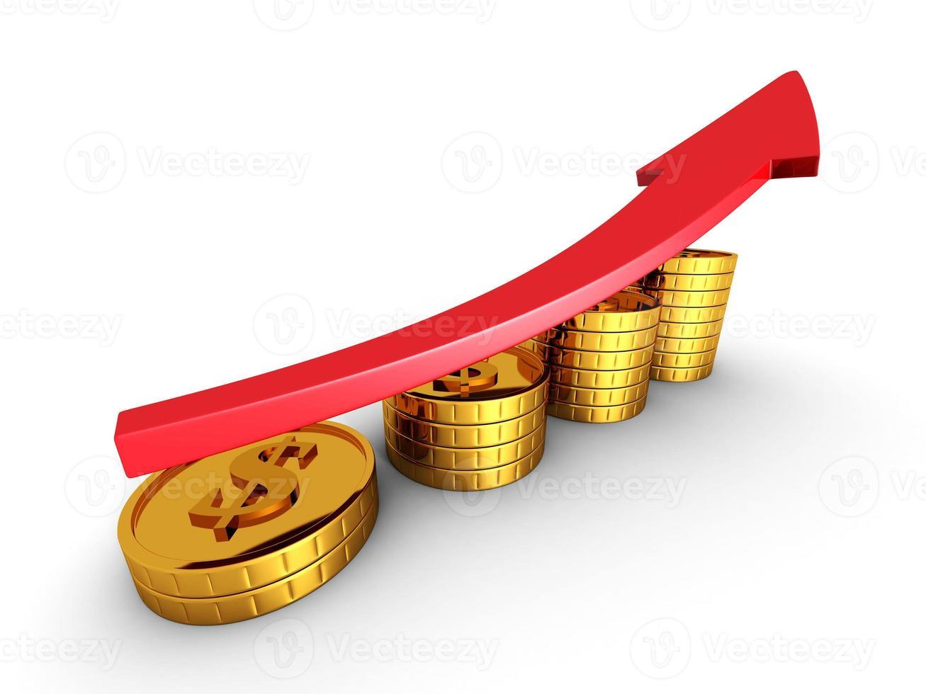 rote Pfeil und goldene Münzen Wachstumstabelle. Erfolg Geschäftskonzept foto