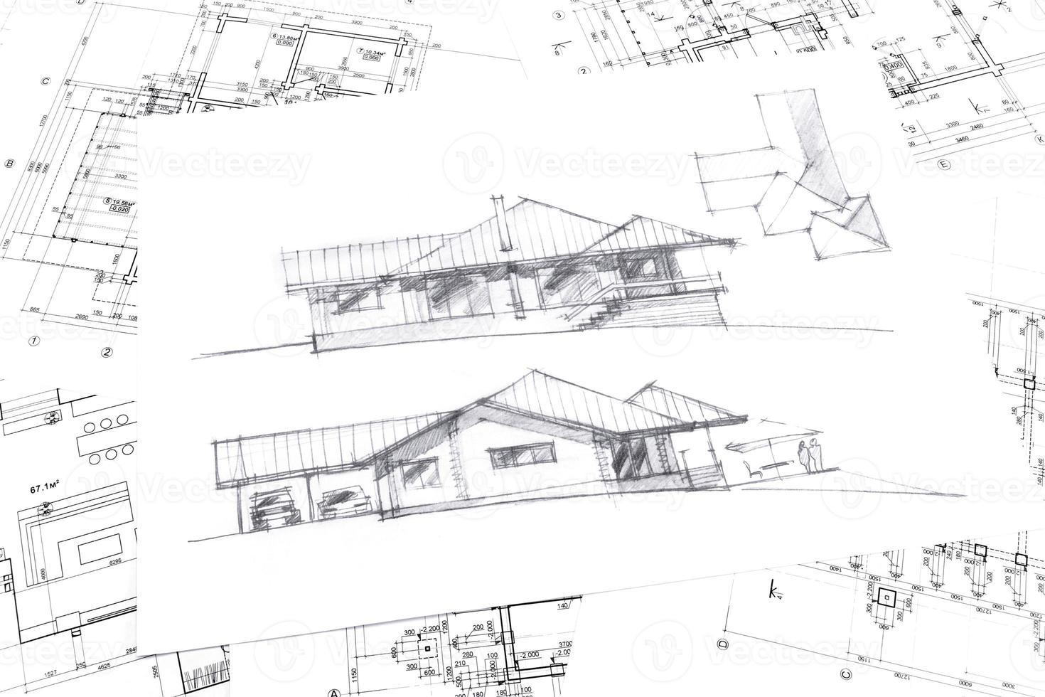 grafische Skizze des neuen Hauses foto