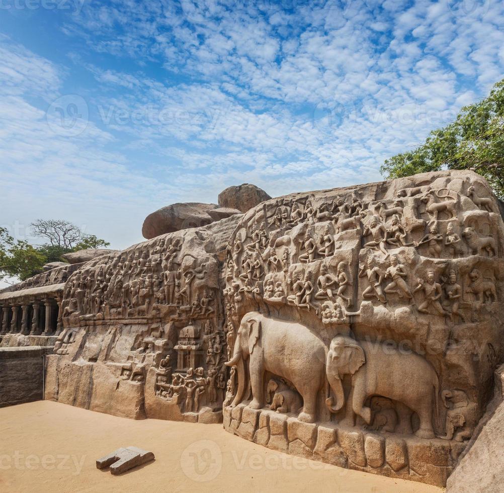 Abstieg der Ganges und Arjunas Buße, Mahabalipuram, Tamil foto