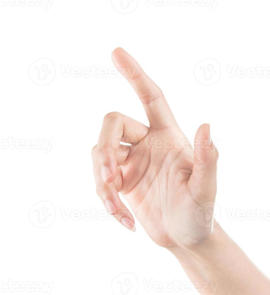 Frauenhand, die virtuellen Bildschirm berührt. isoliert auf weiß. foto