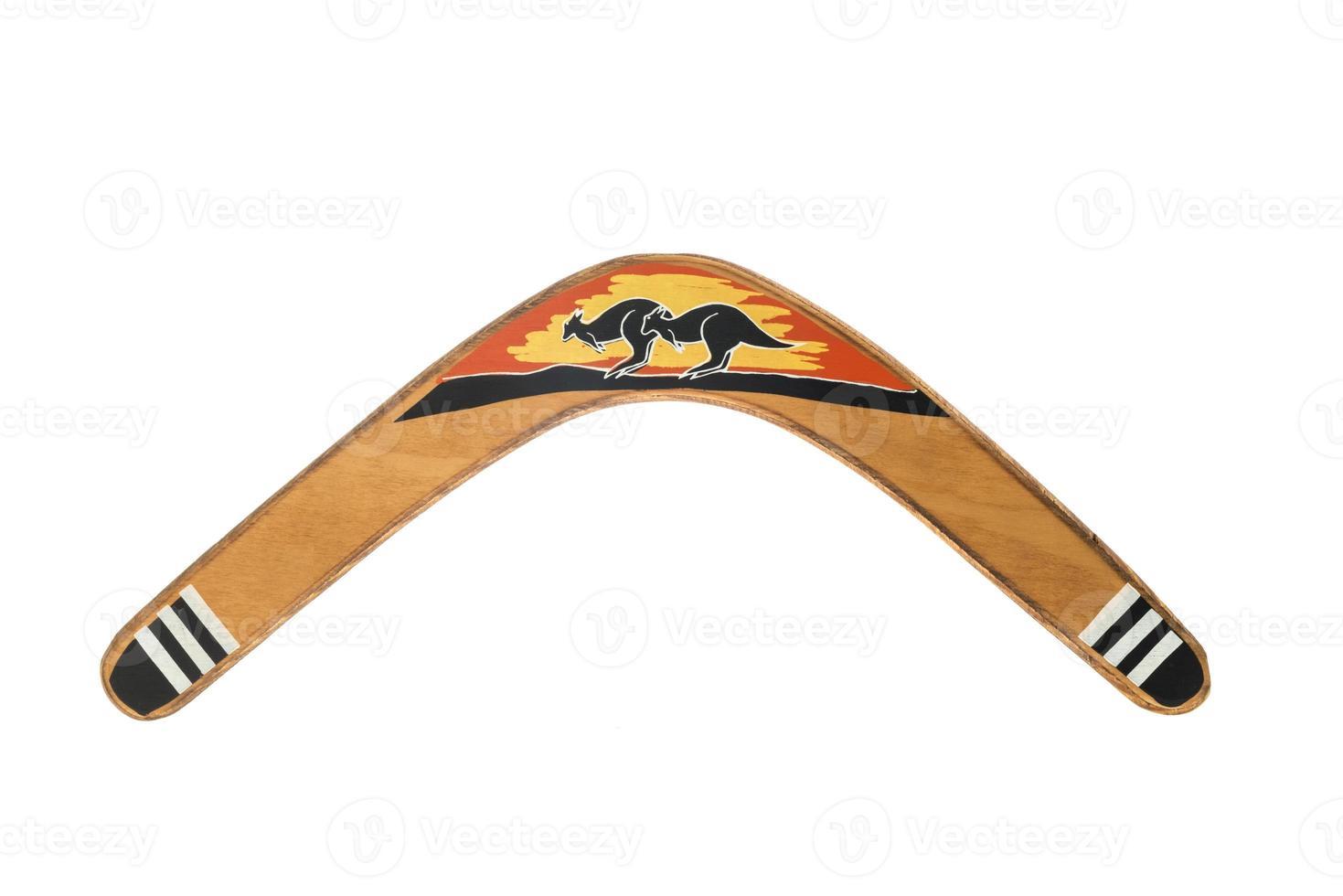 australischer Bumerang isoliert auf weiß foto