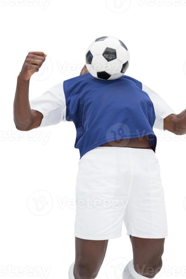 Ansicht des Fußballspielers, der spielt foto