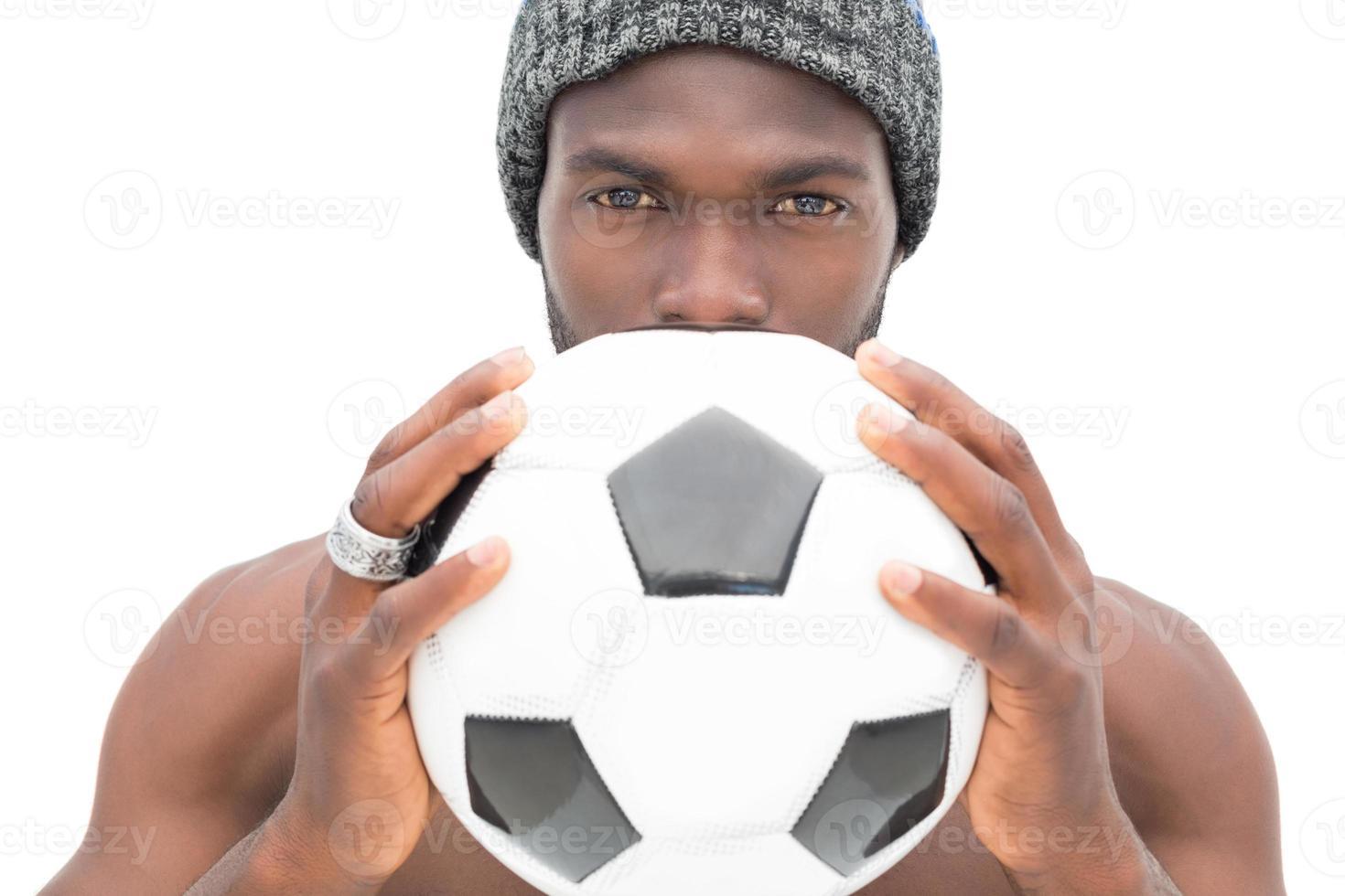 Nahaufnahmeporträt eines ernsthaften Fußballfans foto