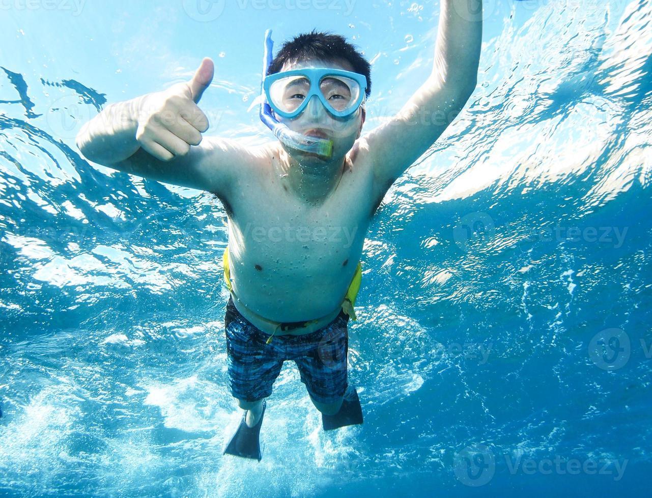 Daumen hoch unter Wasser foto