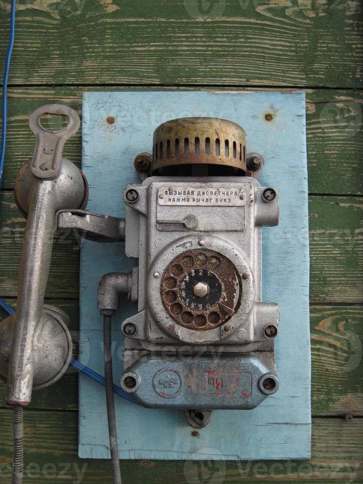 altes russisches Telefon, Barentsburg, Spitzbergen, Norwegen. foto