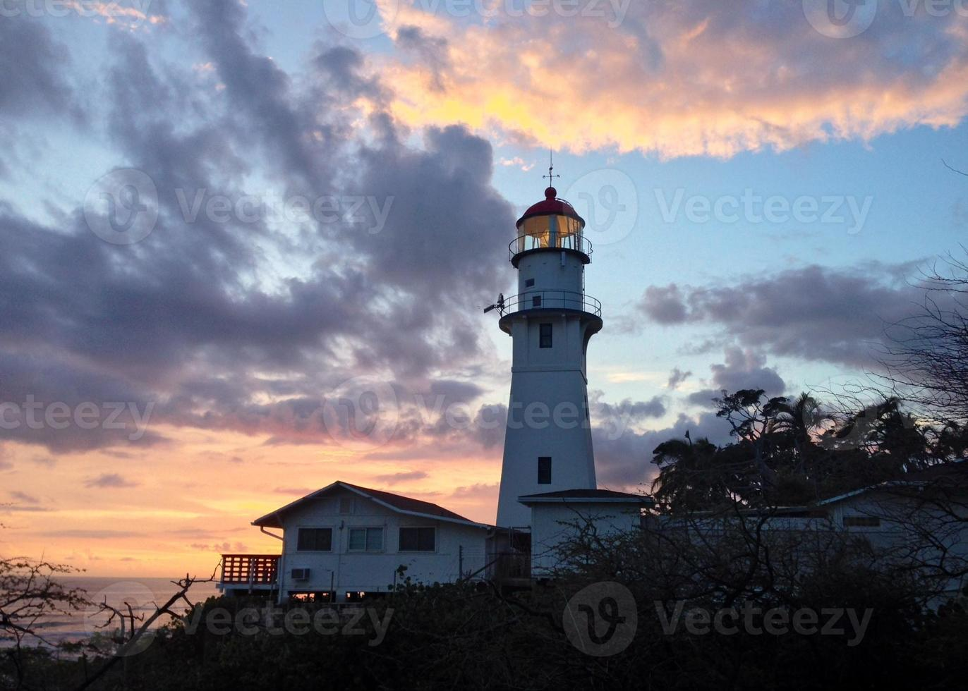 Leuchtturm inmitten Sonnenuntergang Himmel foto
